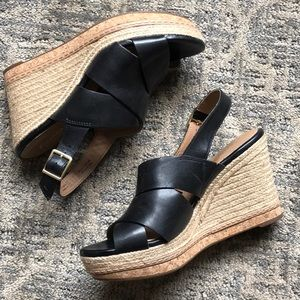 Wedged sandals with cork and cord detailing